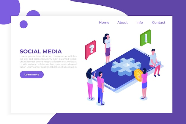 Concept isométrique de médias sociaux avec des personnages.