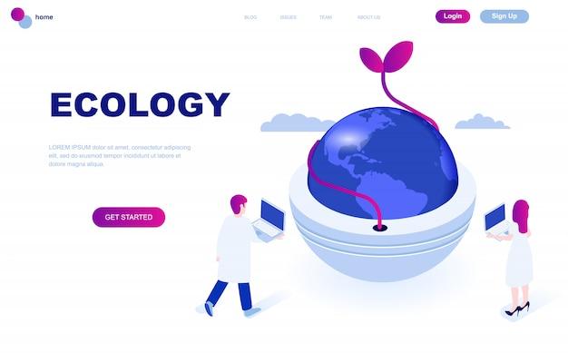 Concept isométrique moderne design plat de l'écologie de la terre