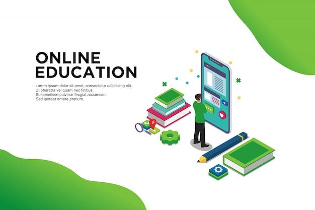 Concept isométrique moderne design plat de l'éducation en ligne