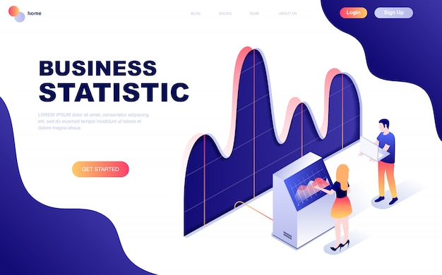 Concept isométrique moderne design plat de statistiques commerciales