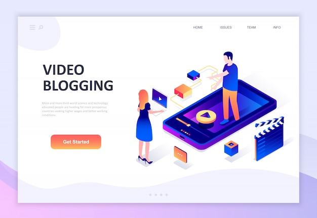 Concept isométrique moderne design plat de video blogging