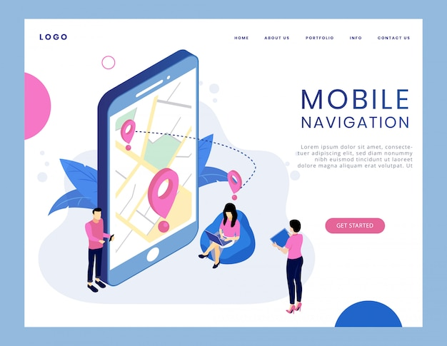 Concept isométrique moderne de la navigation mobile