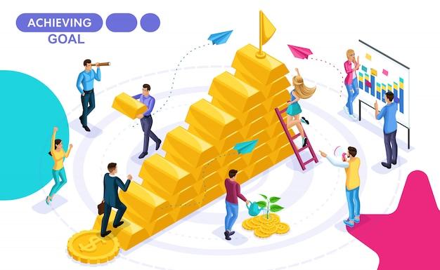 Concept isométrique de mouvement vers un objectif, le développement des affaires, pour gagner un prix. personnes isométriques en mouvement. concepts pour les bannières web et les documents imprimés