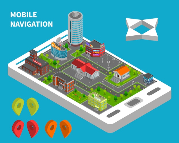 Concept isométrique de navigation mobile