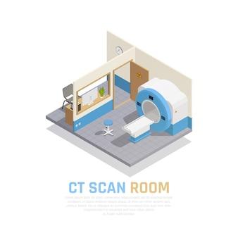 Concept isométrique de neurologie et de chirurgie neurale avec salle de scan