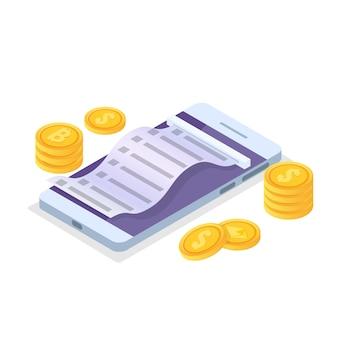 Concept isométrique de paiement en ligne avec ticket de caisse. porte-monnaie mobile. illustration vectorielle