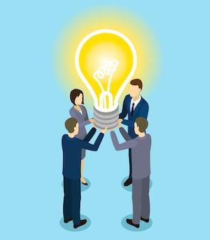 Concept isométrique de partenariat commercial
