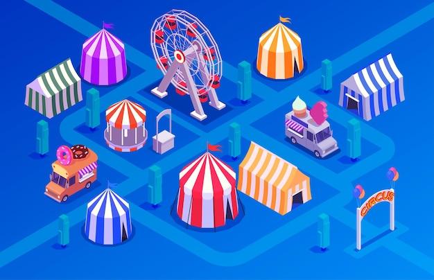 Concept isométrique de performance de cirque avec parc d'attractions