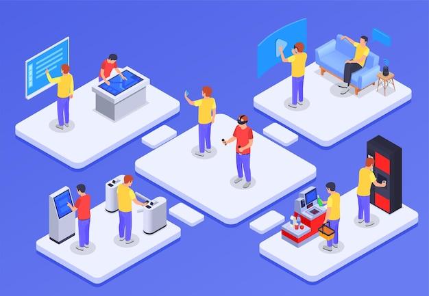 Concept isométrique de personnes et d'interfaces avec des gadgets électroniques de terminaux interactifs de personnages