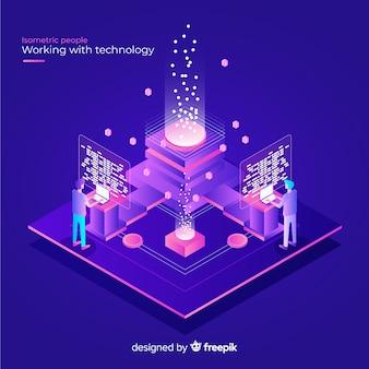 Concept isométrique des personnes travaillant avec la technologie