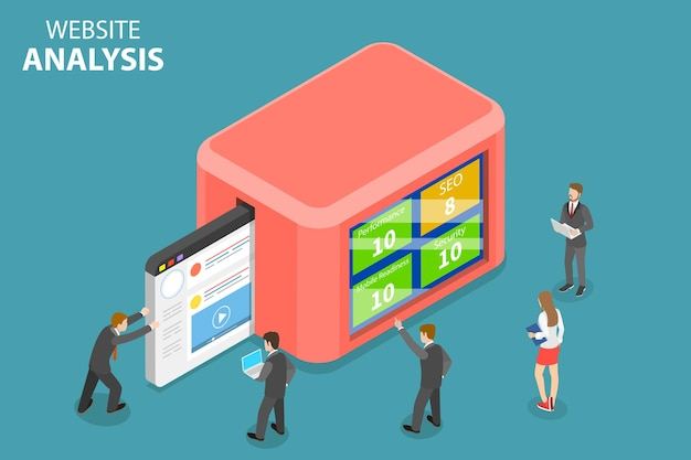 Concept isométrique plat d'analyse de données de site web, d'analyse web, de rapport d'audit seo, de stratégie marketing.