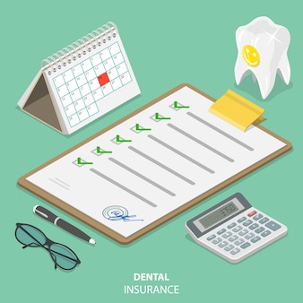 Concept isométrique plat d'assurance dentaire.