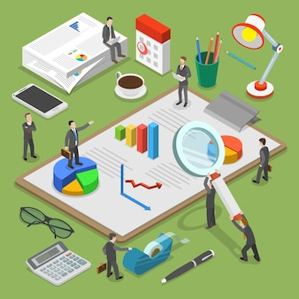 Concept isométrique plat d'audit financier