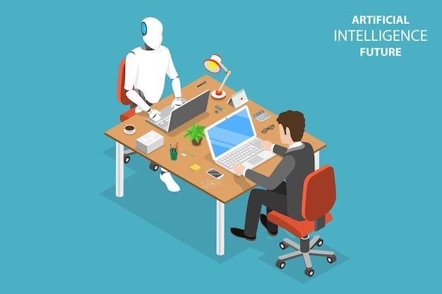 Concept isométrique plat de l'avenir de l'ia, de la coopération robotique et humaine