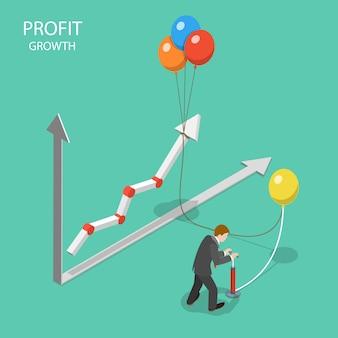 Concept isométrique plat de croissance des bénéfices.