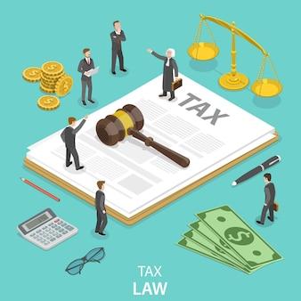 Concept isométrique plat de droit fiscal