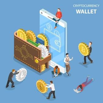 Concept isométrique plat du portefeuille de crypto-monnaie