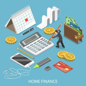 Concept isométrique plat de finances personnelles à domicile