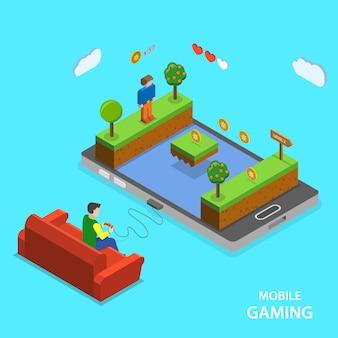 Concept isométrique plat de jeu mobile.