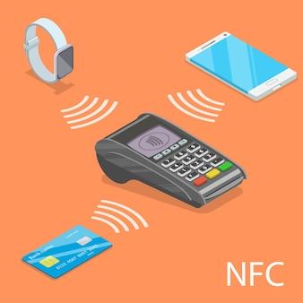 Concept isométrique plat de nfc - communication en champ proche.