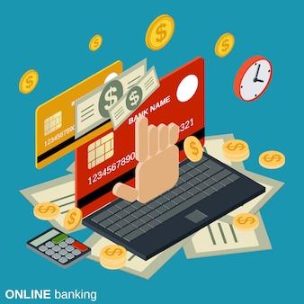 Concept isométrique plat pour les services bancaires en ligne