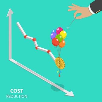 Concept isométrique plat de réduction des coûts.