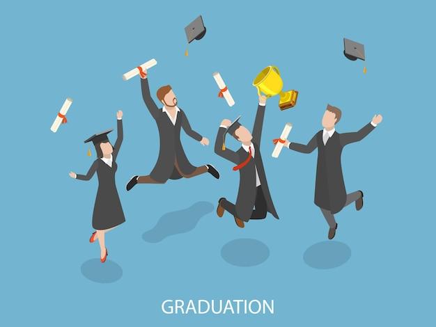 Concept isométrique plat de remise des diplômes