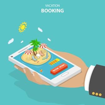 Concept isométrique plat de réservation de vacances.