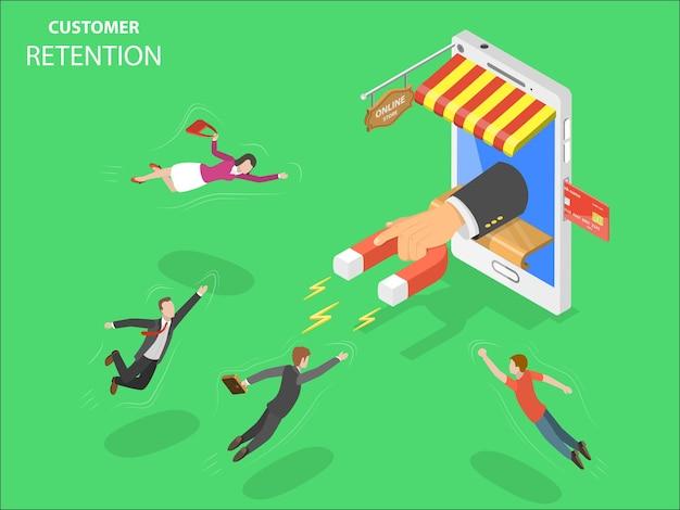Concept isométrique plat de rétention de client de magasin en ligne