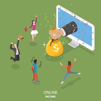 Concept isométrique plat de revenu en ligne.