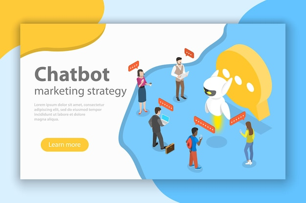 Concept isométrique plat de stratégie de marketing chatbot, ai, intelligence artificielle