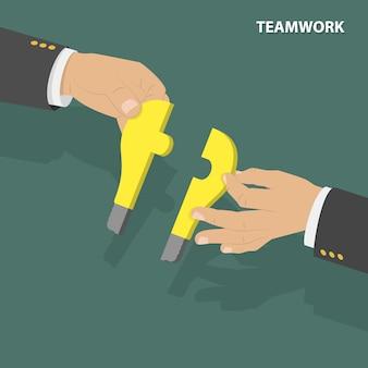 Concept isométrique plat de travail d'équipe