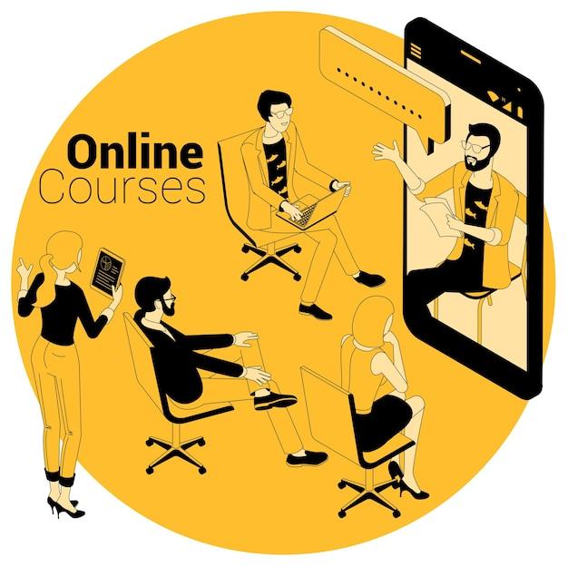 Concept isométrique pour les cours en ligne, l'éducation, la formation, l'apprentissage et les didacticiels vidéo.