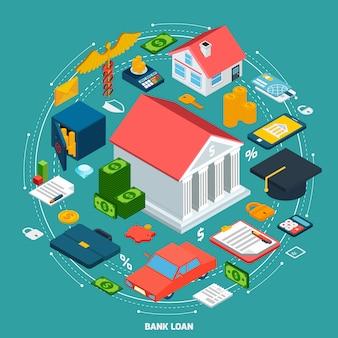 Concept isométrique de prêt bancaire