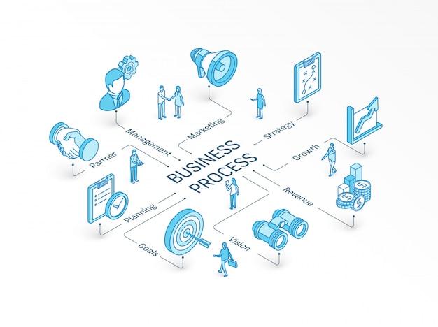 Concept isométrique de processus métier. système d'infographie intégré. travail d'équipe des gens. modèle de stratégie, gestion, marché, symbole de partenaire. plan, objectif, pictogramme de croissance de la vision
