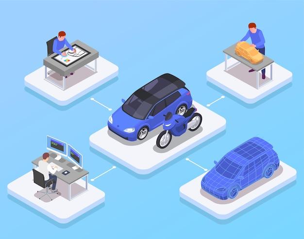 Concept isométrique de profession de concepteur de voiture avec illustration de symboles de modèle 3d