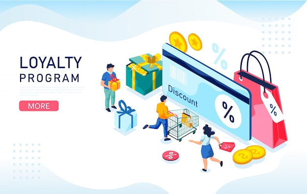 Concept isométrique de programme de remise et de fidélité. illustration avec les clients, carte bonus et coffrets cadeaux.