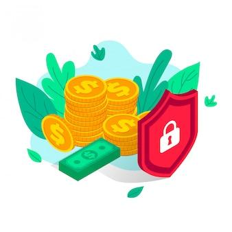 Concept isométrique de protection de l'argent, paiement de commerce électronique sécurisé, assurance d'économie financière. paiement sécurisé en ligne 3d, sécurité bancaire. pile d'illustration de pièces de monnaie, billets derrière le bouclier isolé