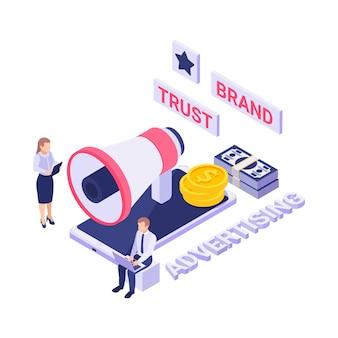 Concept isométrique de publicité de confiance de marque avec mégaphone d'argent de smartphone 3d et illustration de personnes