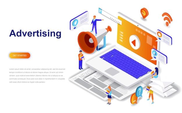 Concept isométrique de publicité et promo design plat moderne.