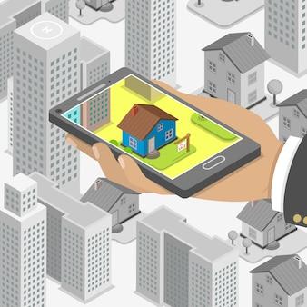 Concept isométrique de recherche en ligne immobilier.