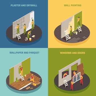 Concept isométrique de rénovation domiciliaire