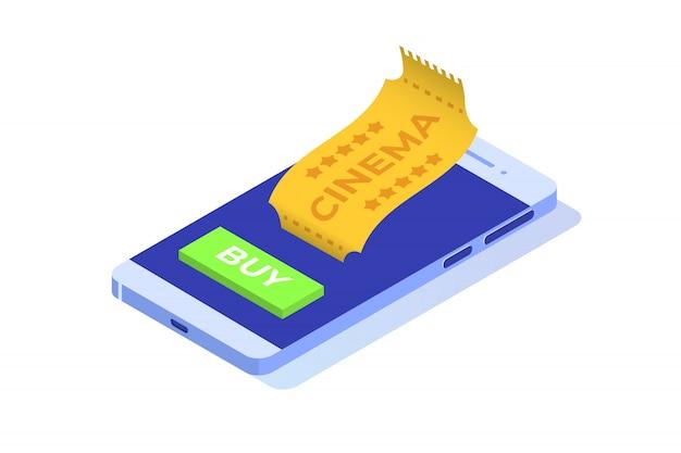 Concept isométrique de réservation de billets de cinéma en ligne. application mobile. illustration
