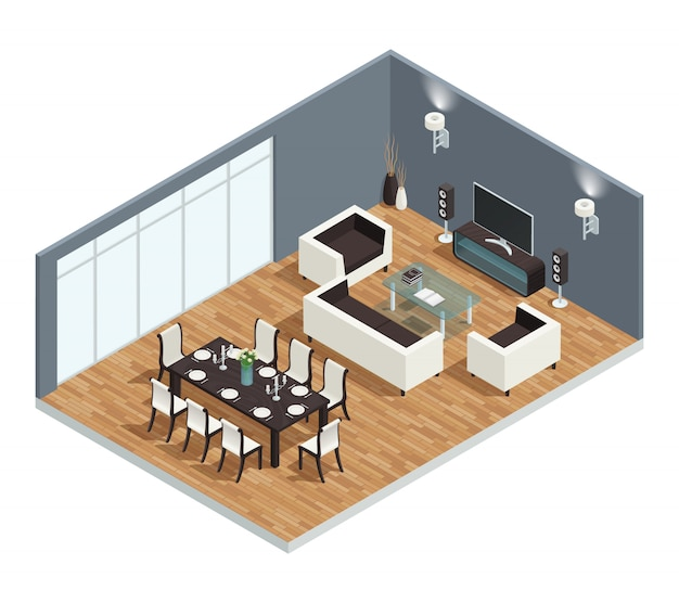 Concept isométrique de la salle à manger avec table et chaises de télévision