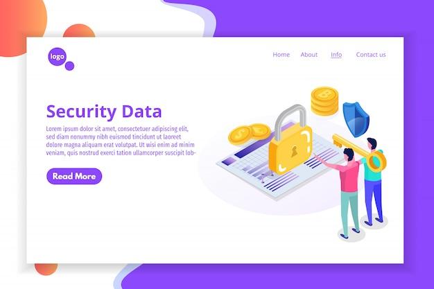 Concept isométrique de sécurité, de sûreté et de protection des données personnelles confidentielles.