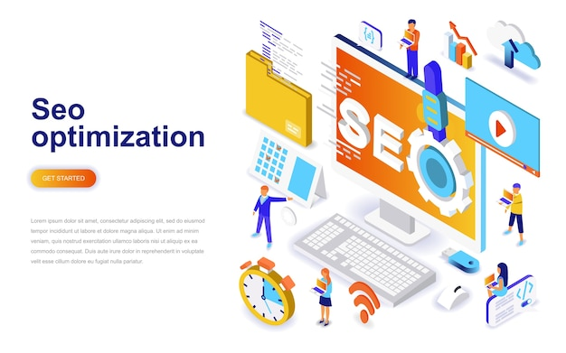 Concept isométrique de seo design plat moderne d'optimisation.