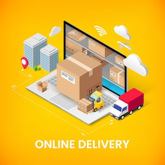 Concept isométrique de service de livraison en ligne avec stockage dans un ordinateur portable, une boîte à colis, un camion, des bâtiments. conception de bannière 3d de publicité logistique. illustration pour le web, application mobile, infographie