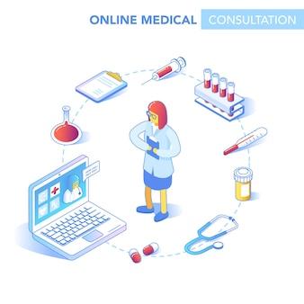 Concept isométrique de soins de santé en ligne. consultation médicale, application de diagnostic sur ordinateur, tablette, smartphone. technologie médicale moderne avec docteur. illustration vectorielle