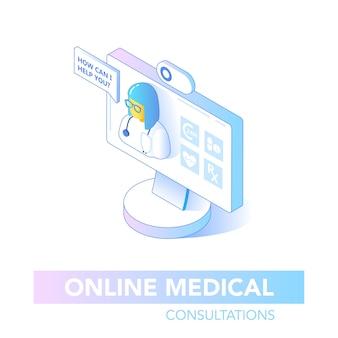 Concept isométrique de soins de santé en ligne. consultation médicale, application de diagnostic sur ordinateur. technologie médicale moderne avec docteur. illustration vectorielle
