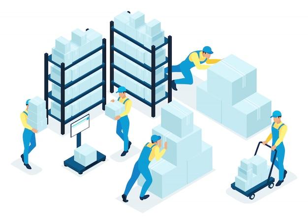 Concept isométrique en stock, le personnel de l'entrepôt distribue des boîtes, un service de livraison. concept pour le web